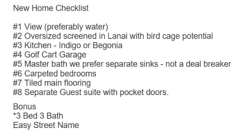 """Our New Home Checklist for Retirement.  Eight """"must haves"""" and a couple of bonus items."""