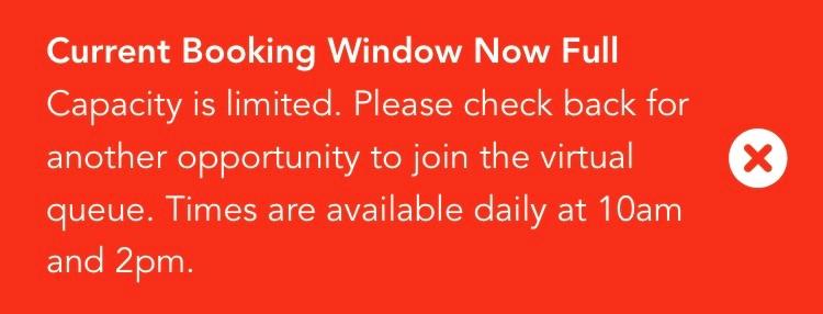 Disney Hollywood Studios virtual queue - Booking window full